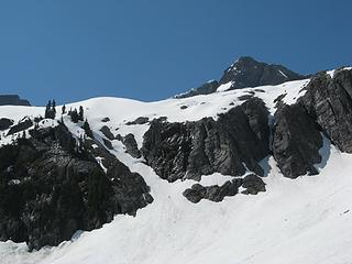 Climber approaching the snow finger