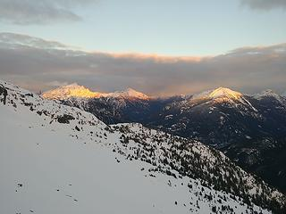 Alpenglow on Jack, Crater, and Ruby