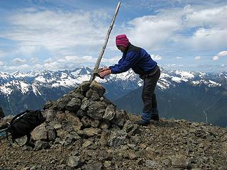 Mike improving the summit cairn