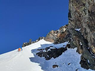 Climbing up the southwest face