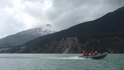 Boating across Lago Leones