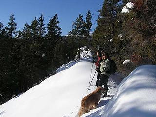 Bob, Elle and Gusto heading up a ridge