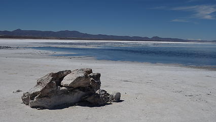 Still a little water on the edge of the salt flat