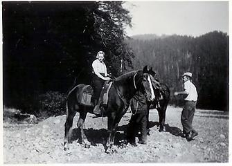 Smith Place - Queets Valley - ca. 1929 - Marion V. Wood on horse - photo courtesy L. Vaughan
