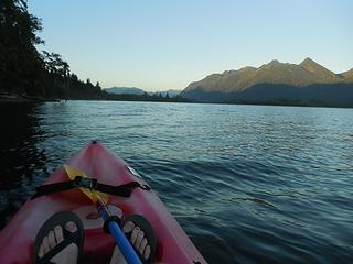 kayaking on Lake Quinault, Colonel Bob in the background
