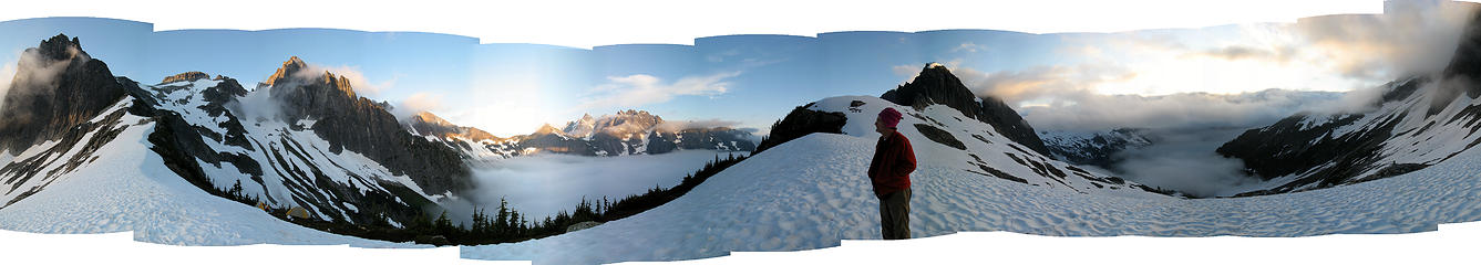 Pickell Pass Panorama: Spectre to Goodell Creek basin to Crowder to Picket Creek basin to Spectre