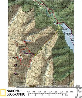 Tupshin & Devore Approach Map  Yellow line is approach hike.  White line is unused hike from Harlequin bridge.  Red lines are summit routes.