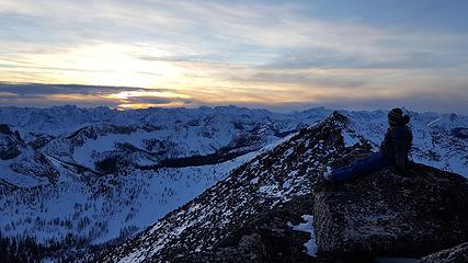 Jake on the summit at sunset