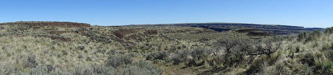 Winding down an old road through scablands below Cape Horns South ridge.