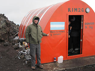 El refugio militar at about 2,400 meters. This is one of three on the north side of el Lanin