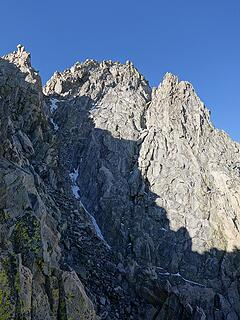 North couloir of Wilson from the divide notch