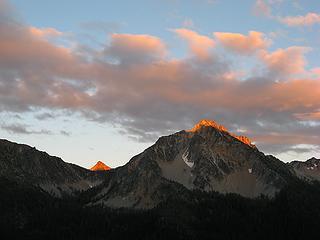 Last light on the summits above
