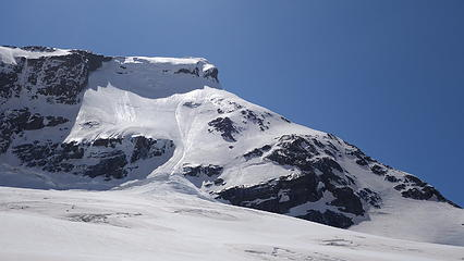 SW ridge profile; our route ascending the lower snow slope at lower right corner then up ridge to the crux