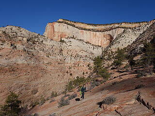 Hiking up Kayenta slabs