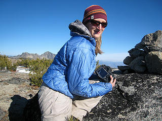 Babe at the summit cairn