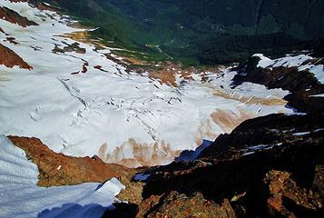 Glacier crevasses on the north side of Larrabee