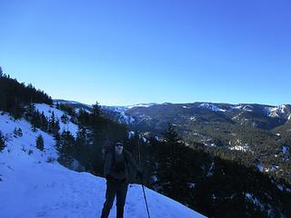 Mission Ridge Ski area on the horizon just above his head