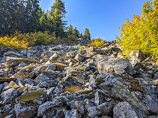 Looking up the talus field from it's lower end at 3000'