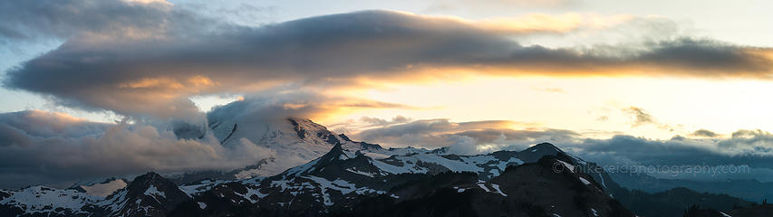 Sunrise and sunset up at Artists Point with views of Mount Baker and Shuksan