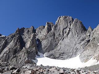 This peak to the left of Woosley is the Innominate, which has a 5.10d summit rock