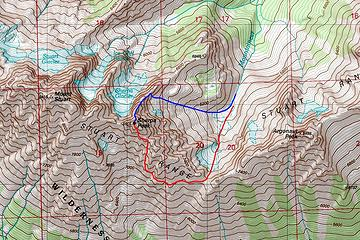 Map of our ascent (blue) and descent (red)