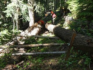 Ramp setup to roll log section past trail, 07.28.20