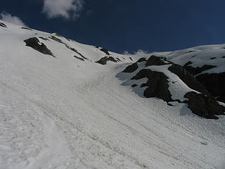 Looking back up at lower glissade area