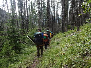 Headed back to camp after a day on the trail.
