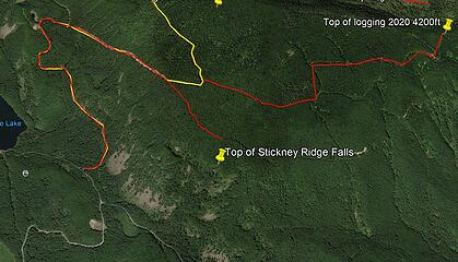 GoogleEarth top of Stickney Ridge Falls