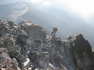 Jake hiking along the last little ridge