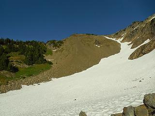 looking back up the scree slope
