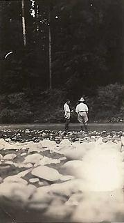 Smith Place - Queets Valley - 1930s - Oscar Smith on right wearing hat. photo courtesy S. Martinson