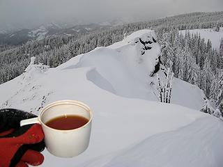 Summit tea and the far side of the ridge