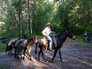 Horse Packer Bruce took our tools up and down the 7.25 miles to camp.
