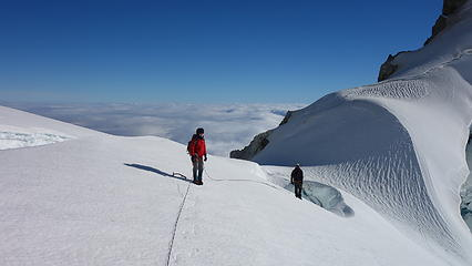 At the saddle between the two summits