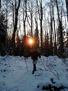 Steve N. (The Phantom Hiker) eclipsing the setting sun