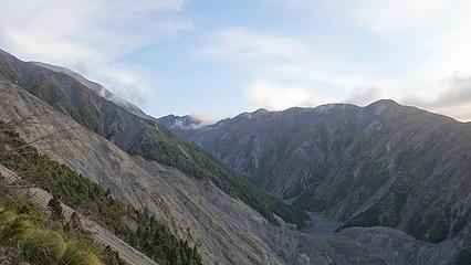 Starting up the slope to Stance Saddle. Notice the landslide scar
