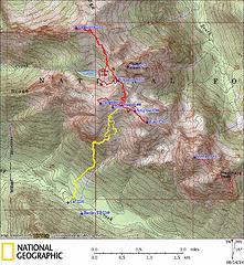 GPS Track (yellow lines are approach with packs, red lines are side trips to summits)