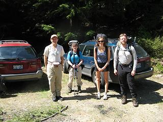 At the trailhead: Mike, Billie, Erin, Eric