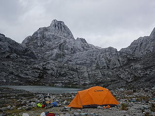Our camp for the night next to a small unspoiled tarn