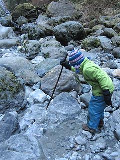 Annika poking the ice