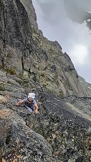 climbing back up the little crack at the notch