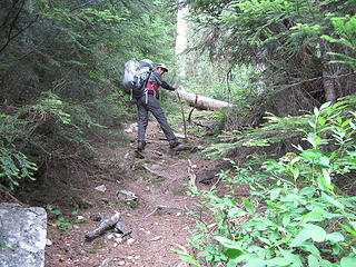 The trail starts at the end of the road and is steep for 1/2 mile or so