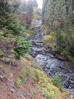 Looking up Kulshan Creek. Most of this rock is sedimentary, the lava having been eroded completely.