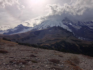 Afternoon clouds over Rainier, with Third Burroughs in the foreground
