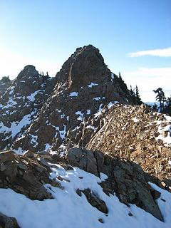 on the ridge proper, heading towards false summits