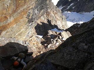 Steep rock on the ridge leading to W Fury.