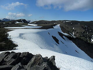 Snow patches on the plateau south above the Obs TH