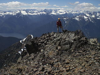 Franklin poses on the summit.