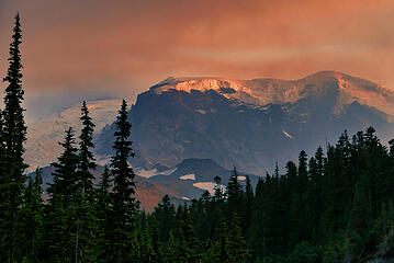 Rainier Smoky Sunset